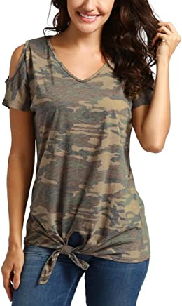 d58082b900c GONKOMA ️Womens Casual Camouflage V-Neck T-Shirts Tops Blouse Cold Shoulder  Short Sleeve