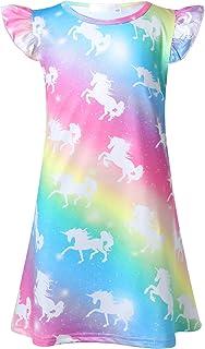 WonderBabe M/ädchen Kinder Einhorn Nachthemd Einh/örner Nachtkleid Regenbogen R/üsche Kurze /Ärmel Nachtw/äsche Nachtkleider Nachthemden