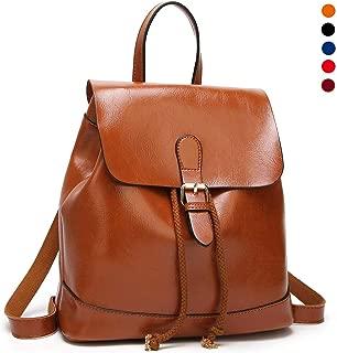 Waterproof PU Leather Small Backpack for Women, Ladies Casual Daypack Rucksack School Bag for Girls,Orange