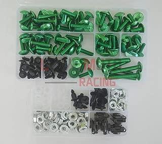 LoveMoto Full Motorcycle Fairing Bolt Screw Kit For Honda CBR 900 RR 929 00 01 CBR 900 RR 929 2000 2001 New Body Screws Aluminum Fasteners Hardware Clips Green Silver