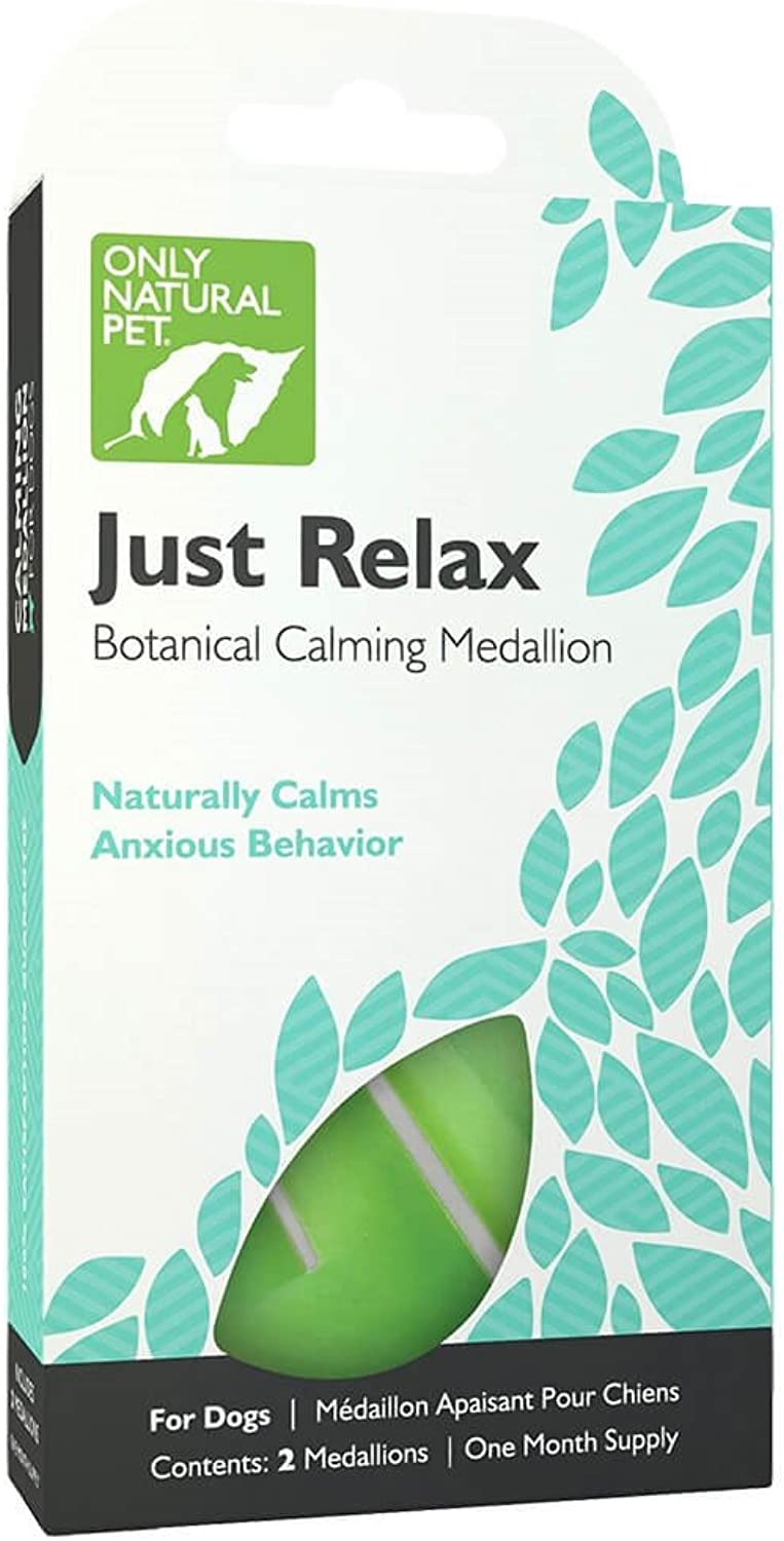 Only Natural Pet Just Relax Botanical Calming Collar Medallion for Dogs, Anxiety Relief Calming with Essential Oils  Each Box Contains 2 Medallions (1 Month Supply)