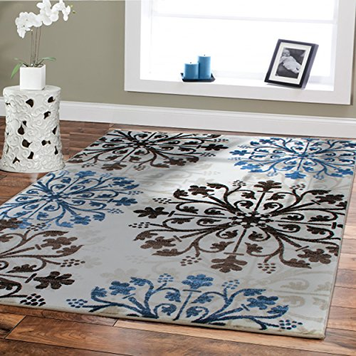 Cream Ivory Black Brown and Blue Accent Rug for Living Room
