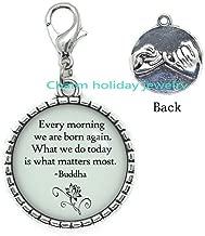 Buddha Quote Zipper Pull Born Again Every Day Buddha Lobster Clasp Yoga Zipper Pull Buddhism Jewelry Lotus Flower Zipper Pull Buddhist Gift Religion Gift-#315