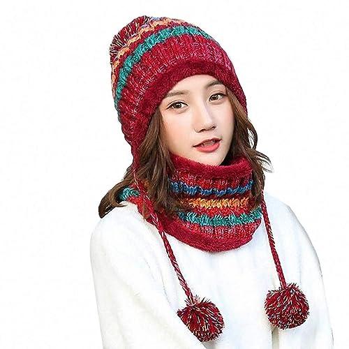 69b555be697 Women Knitted Hat Scarf Set Girls Women Gift Winter Warm Thicken Crochet  Bobble Pom Pom Beanie