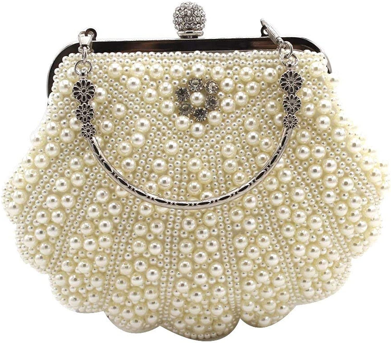 Ladies Handbag Diamond Dinner Bag Shell Pearl Diamond Bag Embroidered Evening Bag (color   Rice White)