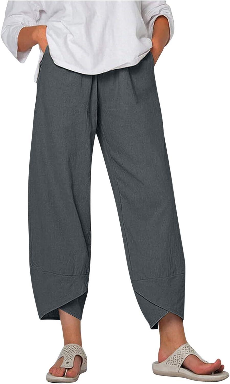 FNJJLU Wide Leg Pants for Women Boho Cotton Linen Elastic Waist Pants Casual Pants with Pockets