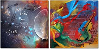 VVOVV Wall Decor Inspirational Wall Art Left & Right Brain Galaxy Universe Pictures E=MC2 Science Poster Framed Canvas Print Artwork Office Classroom Decor School Gift 16