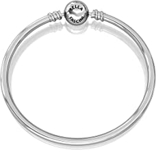 Authentic BELLA FASCINI Bangle Bead Charm Bracelet - Smooth Ball Snap Clasp - 925 Sterling Silver - 8.3