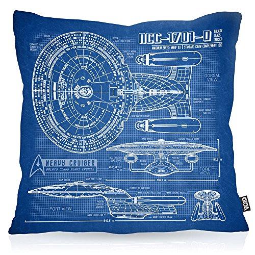 VOID NCC-1701-D Blaupause Kissenbezug Kissenhülle Outdoor Indoor Trek Trekkie Star, Kissen Größe:80 x 80 cm