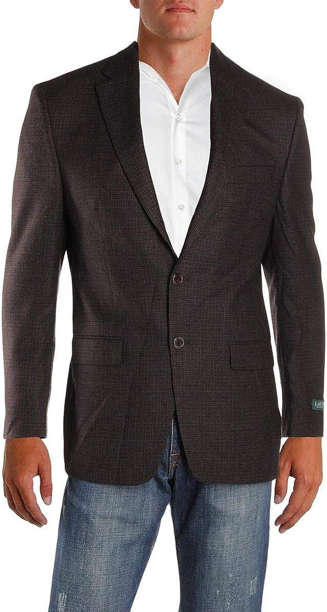 Ralph Lauren Mens Herringbone Two Button Blazer Jacket, Brown, 38 Regular