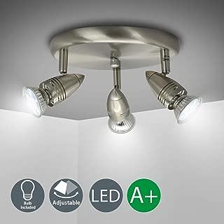DLLT Flushmount Ceiling Track Lighting Kits-3 Light Multi-Directional Ceiling Spot Lights Fixture with GU10 Bulbs for Kitchen Living Room Bedroom Hallway, Warm White Nickel Steel
