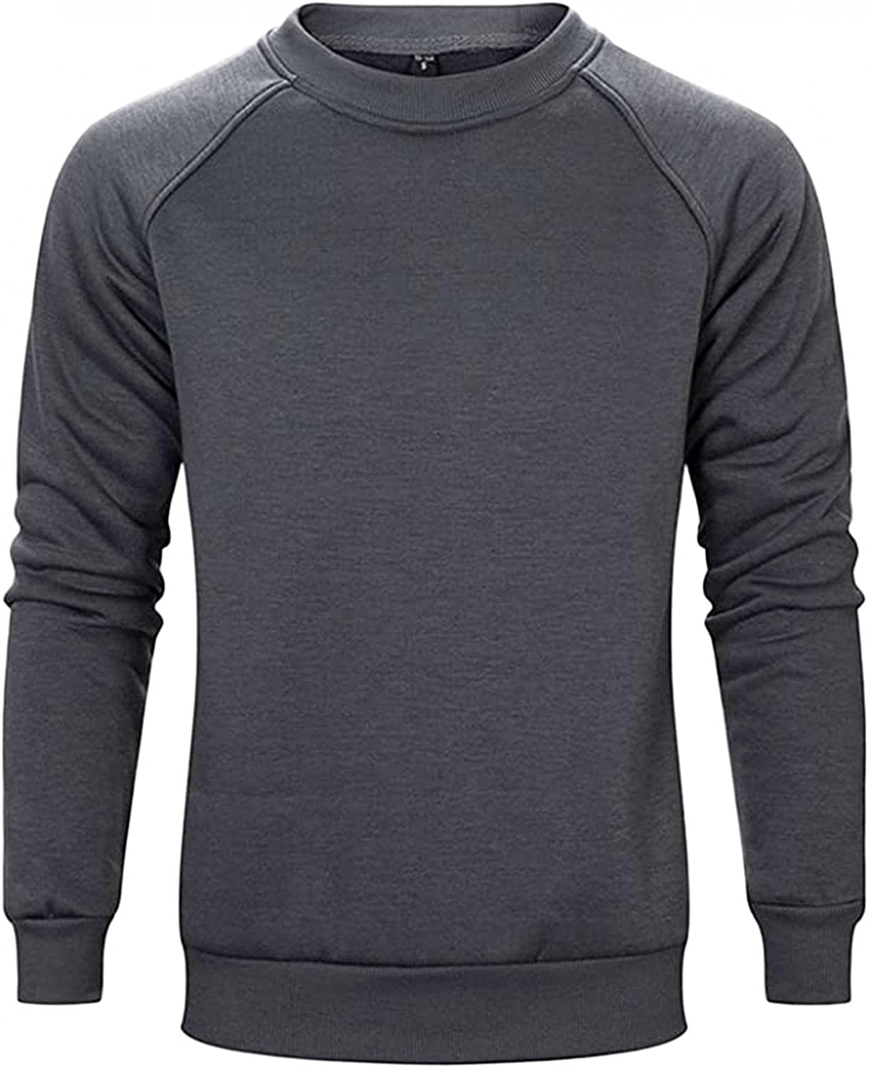 Qsctys Men's Fleece Crewneck Sweatshirts Pullover Slim Fit Long Sleeve Sports & Fitness Clothing Big and Tall T-Shirts