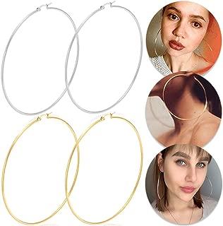 Huge Gold Hoop Earrings for Women - Plated 10k Gold Stainless Steel Hooped Earrings for Women, 70-100mm Large Gold Hoop Earrings (2 Pairs of 3.94