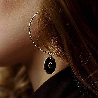 Orecchini a cerchio iniziali - Orecchini a lettera - Gioielli di moda - Gioielli veri - Orecchini personalizzati - Cerchi
