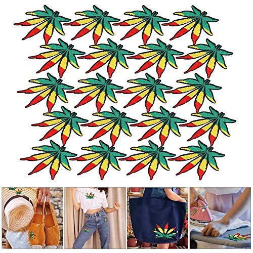 Shanrya Adesivi in Tessuto Foglia d'Acero, Toppe Ricamate, Colori Vivaci a Forma di Foglia 20 Pezzi Toppa da Stiro per valigie Tende Cappotti Borse Scarpe federe