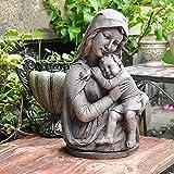 Decoraciones de jardín de estatua Vintage rústica gris óxido de magnesio imitación cemento bebé decoración del jardín Católica adornos de jardín Figurita 26x38cm para la decoración de primavera al air