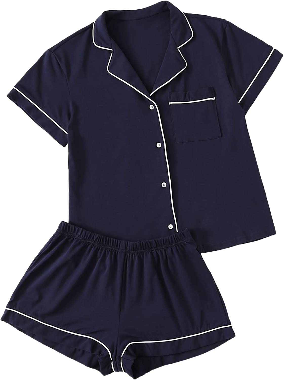 Floerns Women's Notch Collar Short Sleeve Sleepwear Two Piece Pajama Set
