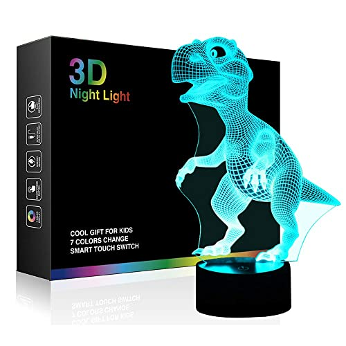 Rechargeable Baby Nursery Nightlights Sensitive Tap Control 7 Color Changing Bedside Lamp for Children Boys Girls Birthday Christmas Gift SINYWON 3D LED Dinosaur Night Light for Kids Wall Adapter Included