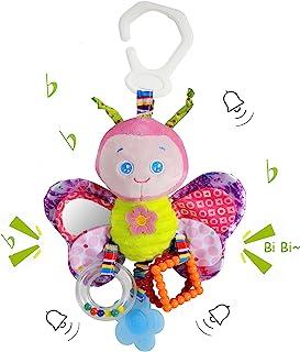 Funsland Babyألعاب للبنات والأولاد بمشبك على مقعد السيارة - ألعاب الأطفال - لعبة عربة الأطفال مع عضاضة وخشخشة للرضع اللع...