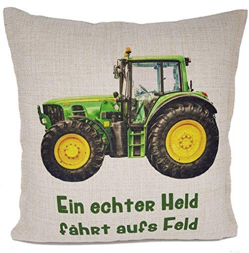 Kilala Kissen Traktor Kissen Trecker grün, Geschenkidee zum Geburtstag oder Vatertag Papa Junge Kinder
