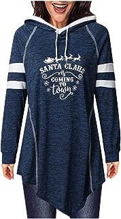 〓COOlCC〓Women Long Sleeve Cowl Neck Asymmetrical Hem Tunic Tops Stripe Drawstring Hoodies Pullover Sweatshirt Shirt Blouse