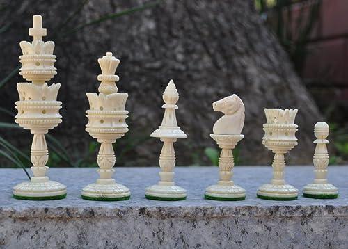 Buffalo Bone Hand carved Lotus Chess Pieces set by Karmakara