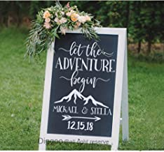 Let The Adventure Begin Decal Personalized Wedding Name and Date Decal Wedding Welcome Sign Custom Vinyl Stickers for Weddings (18