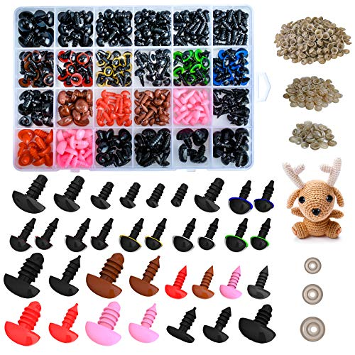Safety Eyes for Amigurumi, 393pcs Stuffed Animal Eyes and Plastic Teddy Bears Noses with Eye Washers (Assorted Sizes)