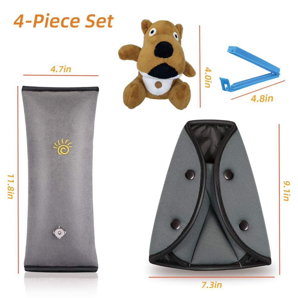 Gray Dog Seat Belt Adjuster and Pillow with Clip for Kids Travel,Soft Neck Support Headrest Seatbelt Pillow Cover /& Seatbelt Adjuster for Child,Car Seat Strap Cushion Pads for Baby