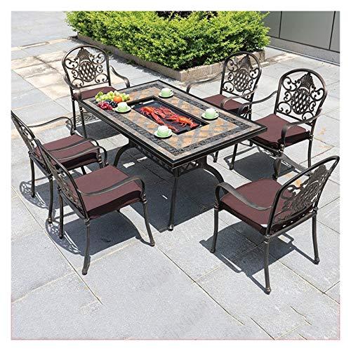 DYYD Juegos de Muebles de jardín Tabla y sillas de Exterior Bistro Juego de Mesa, Patio al Aire Libre Set 7 Tabla Pieza Y Sillas
