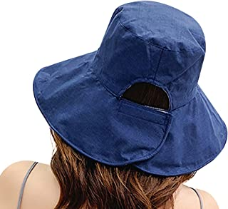 MINAKOLIFE Women Ponytail Bucket Sun Hat Floppy Cotton Hats Wide Brim Summer Beach Caps SPF 50+ UV Packable