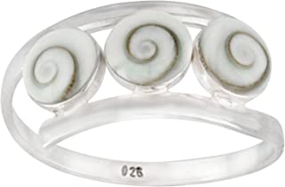Silverly Women's .925 Sterling Silver 3 Triple White Shiva Eye Shell Spiral Twist Overlapping Ring