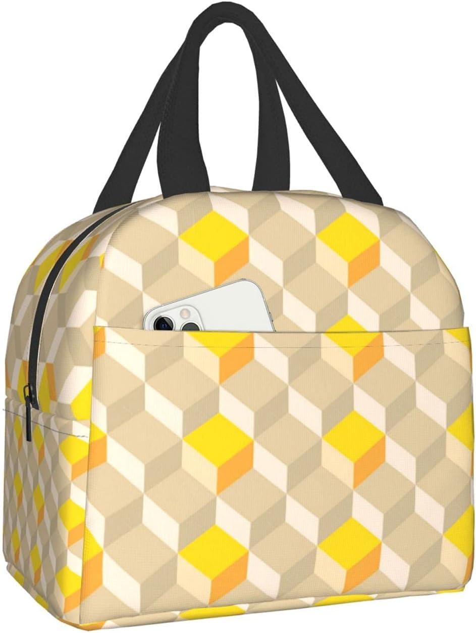 Yellow Grid Mens Lunch Box Lunch Bag Insulated Lunch Box Bag Cooler Reusable Tote Bag Meal Prep Handbag For Men/Women/Girls/Boys