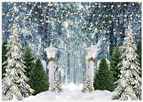 Allenjoy 7x5ft Christmas Forest Scene Photography Backdrop Xmas Pine Trees Snow Winter Wonderland Newborn Pregnant Wedding Photoshoot Background 1st Birthday Happy New Year Holiday Photo Booth Props