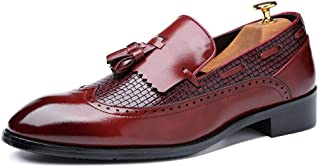 PengCheng Pang Oxfords for Men Tassels Loafers Slip on PU Leather Rubber Sole Pointed Toe Burnished Style Anti-Skid Perforated Embossed (Color : Red, Size : 6.5 UK)