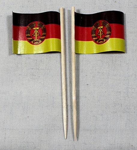 Buddel-Bini Party-Picker Flagge DDR Ostalgie Papierfähnchen in Profiqualität 50 Stück 8 cm Offsetdruck Riesenauswahl aus eigener Herstellung