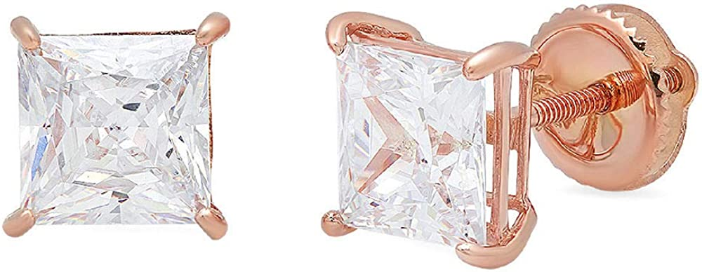 Clara Pucci 4.1 ct Brilliant Princess Shape VVS1 Solitaire Studs Stunning Genuine Flawless Clear Simulated Diamond Solid 18K Rose Gold Designer Screw Earrings back