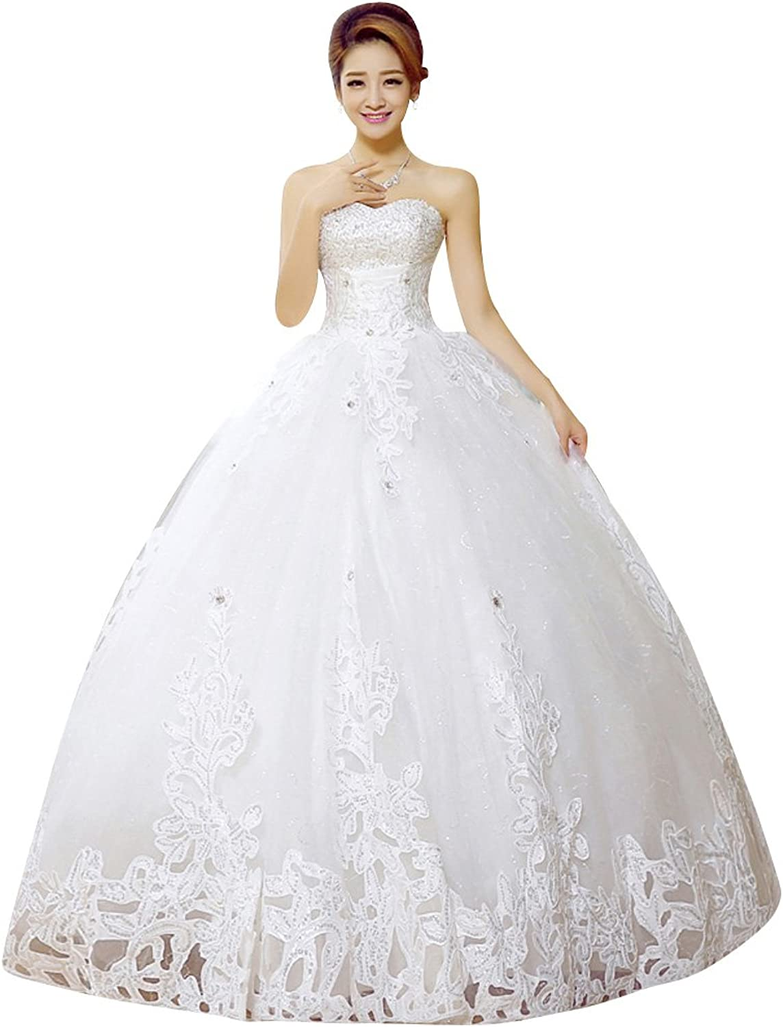 BeautyEmily Tulle Beads Lace Sweetheart Neckline Ball Wedding Gowns
