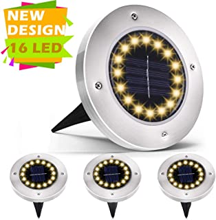 Rishayh Solar Ground Lights, 16 LED Garden Pathway Outdoor Waterproof In-Ground Lights, 4 Pack (Warm) 2019 Thanksgiving New Arrival