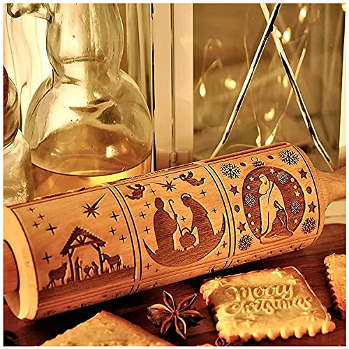 Nativity Engraved Rolling Pin,Nativity Pattern Xmas Christmas Wooden Embossing Rolling Pin,with 9 Different Scene for Baking Embossed Cookies