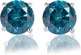 1 1/4 Carat Blue Diamond Solitaire Screw Back Stud Earrings Pair in 14k White Gold