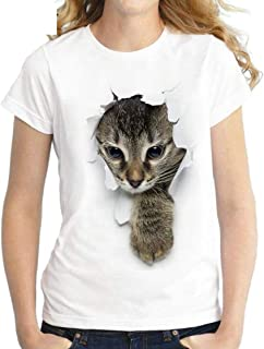 Women Summer Cute Cat Print Short Sleeve O-Neck T-Shirt Blouse Tops