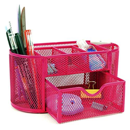 BTSKY Organizador de Escritorio Caja Escribanía con 9 Compartimentos Rosa