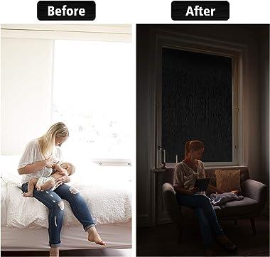 HIDBEA Silk Blackout Window Privacy Film,Reusable Static Cling Door Cover 100% Light Blocking Heat Control Opaque Window Tint