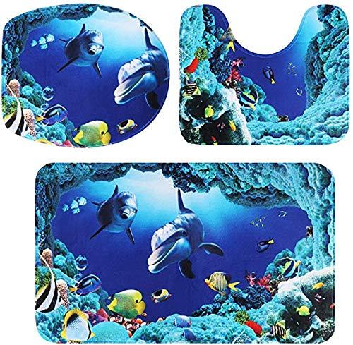 3 Teile/Satz Ozean Stil Unterwasserwelt Dolphin Carpe Wc Matte 3D Dolphin Print Badteppich Set Rutschfeste Saugfähigen Badteppich + U-förmigen Wc Matte + Wc-sitzbezug