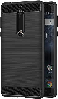 حافظة مايجين لهاتف نوكيا 5 (5.2 بوصة) سيليكون ناعم فاخر مصقول مع غطاء حماية من ألياف الكربون (أسود)