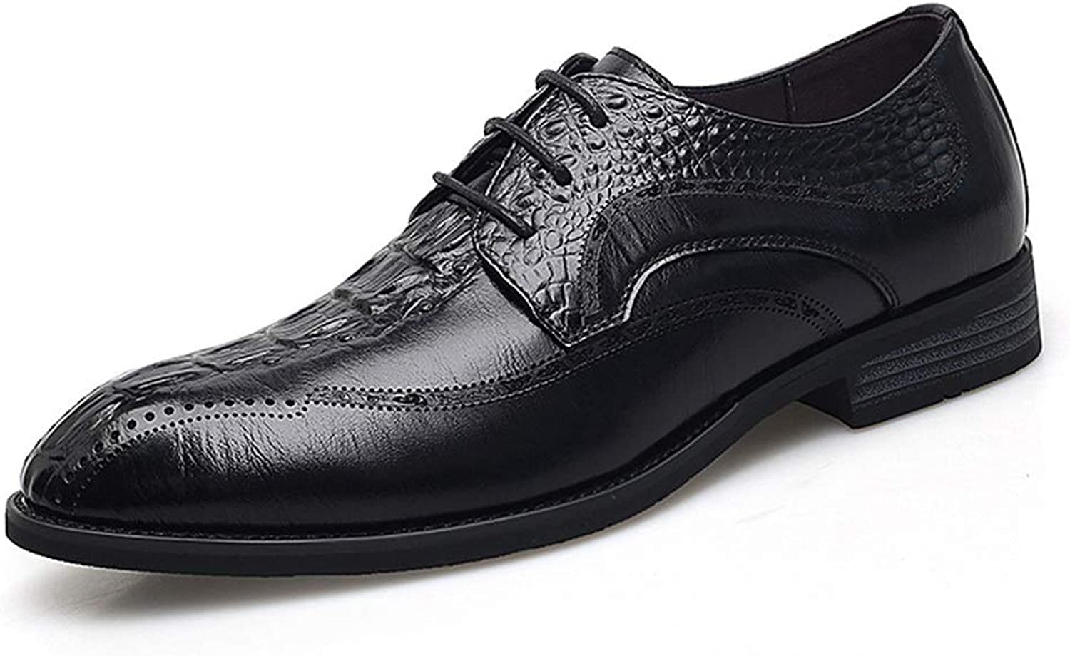 Williess Men's Business Casual shoes Low to Help Leather Single shoes Leather Men's shoes shoes (color   Black, Size   42)