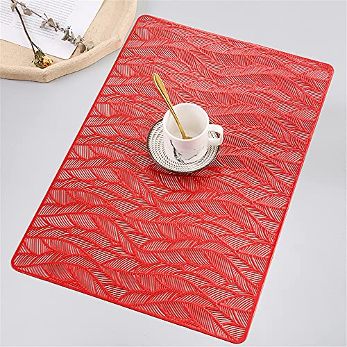 Manteles individuales,Mantel individual rectangular creativo simple moderno, 8 piezas Hogar nórdico antideslizante tazón resistente al calor Mat-Rojo