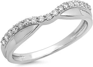 0.25 Carat (ctw) 14K Gold White Diamond Wedding Stackable Contour Guard Band 1/4 CT