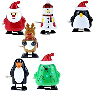 Healifty Christmas Clockwork Toy Santa Penguin Elk Snowman Walking Toy Wind Up Educational Toy Gift For Children